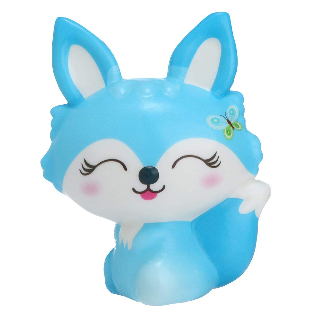 Binory Squishy Toy,Exquisite Mini Charm Fox,Slow Rising Hand Attractive Toy,Stress Relief Fun Toy,Kawaii Sweet Scented Vent Charms Super Soft Cute Decompression Toy for Children's Day Gift(Blue)