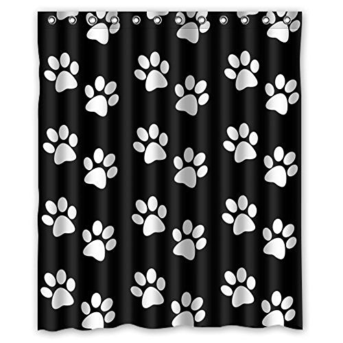 YEHO Art Gallery Dog Paw Prints Waterproof Fabric Polyester Bathroom Shower Curtain Shower Rings Included -Best Visual Enjoyment For You 72X72 inches