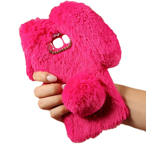 - Fuzzy Green Limited For Galaxy S6 Fluffy Rabbit Fur case Cute Bunny Warm Fluffy Bling Handmade Diamond Bowknot Soft Touch Bunny Shape Fluffy Fur Case for Samsung Galaxy S6 (Rose Red)