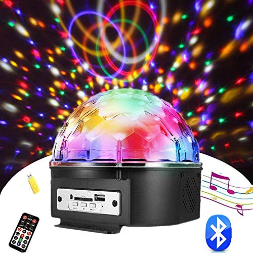 (Chnaivy Christmas Party Light, 9 Color Bluetooth Speaker Color Change LED Stage Lights Rotating Magic Disco Ball Light with Remote Control MP3 Player and USB for KTV Club Pub Show)
