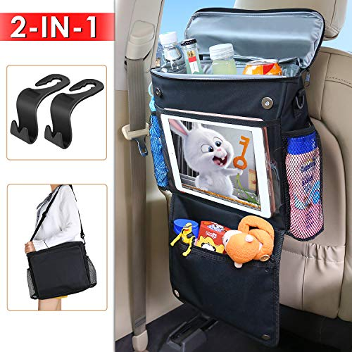 MODOKIT Car Back Seat Organizer with Cooler Bag and Tablet Cup Holder, 600D Waterproof Portable Travel Storage Bag, 2 Pcs Hooks Included