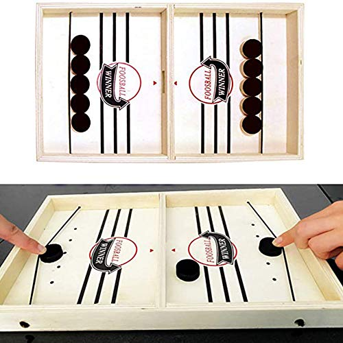 Fast Slingshot Table Hockey Party Game ,Wood Tables Family Games to Play and a Classic Game for Living Room Rustic Table Game Guest Room Strategy Board Games Winner Toys Parent-Child (small)