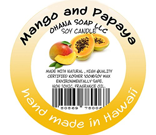 Hawaiian Soy Candles: Mango and Papaya by A Hawaiian candeles ''Ohana Soap LLC''