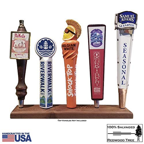 Beer Tap Handle Display Stand | Reclaimed Redwood, Hand Made in USA, holds Five (5) Tap Faucet Handles