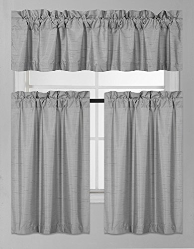 Elegant Home Collection 3 Piece Solid Color Faux Silk Blackout Kitchen Window Curtain Set with Tiers and Valance Solid Color Lined Thermal Blackout Drape Window Treatment K3 (Silver/Light Grey) ()