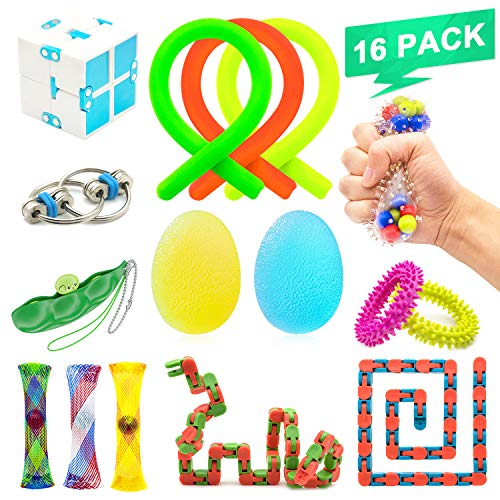 NANAHouse™ 16 Pack Increase Focus Relieves Stress Bundle Sensory Fidget Toys-Fidget Chain/Cube/Ring,Infinity Cube,Wacky Tracks Snap,Twisted Fidget ADD ADHD Toys for Kid and Adult by NANAHouseTM