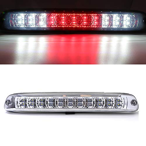 Rear Roof Center LED Third 3rd Brake Cargo Light Assembly, High Mount Stop Tail Light Replacement for 2004-2012 Chevy Colorado,2004-2012 GMC Canyon (Chrome Housing Clear ()