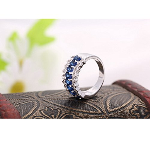 JEMMIN Fashion Chunky Band Rings for Women Blue Cubic Zircon Bridal Jewelry