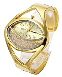 Top Plaza Women Ladies Casual Luxury Gold Silver Tone Alloy Analog Quartz Bracelet Watch Oval Case Rhinestones Decorated Elegant Dress Bangle Cuff Wristwatch-Gold #2