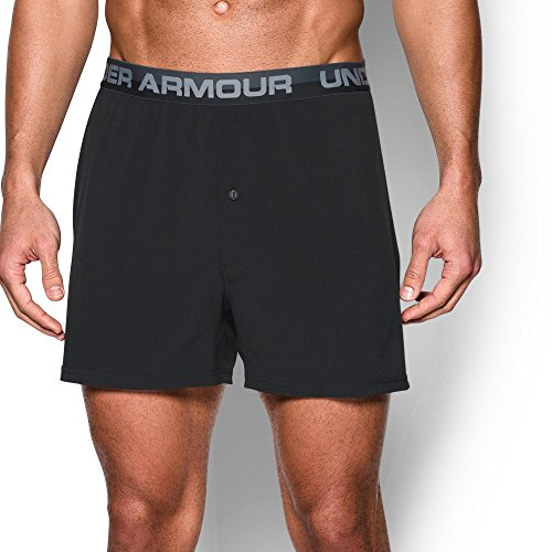 Under Armour Men's ArmourVent Series Boxer Shorts, Black/Steel, Large (Under Armour Boxer Shorts)