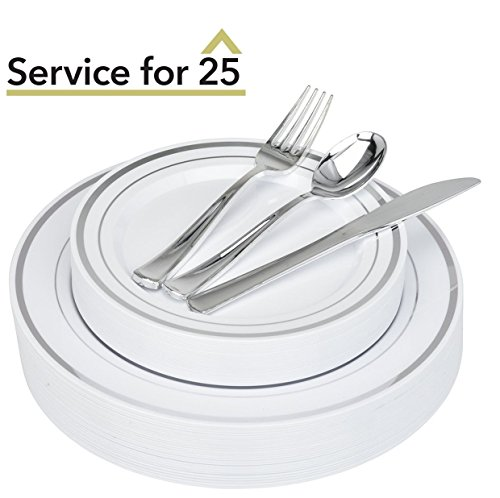 Plastic Dinnerware & Plastic Cutlery Set 125-Piece Service for 25 Disposable Place Setting Includes: 25 Dinner Plates, 25 Dessert Plates, 25 Forks, 25 Knives, 25 Spoons (Silver Rim) - Stock Your Home