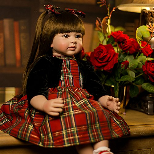 Yesteria 24 inch Reborn Baby Dolls Realistic Toddler Real Life Girl in Gentle-Touch Vinyl, Newborn with Two Ponytails Fiber Hair and Smiling Sweetly in Red Plaid Dress (Baby Dress Reborn)