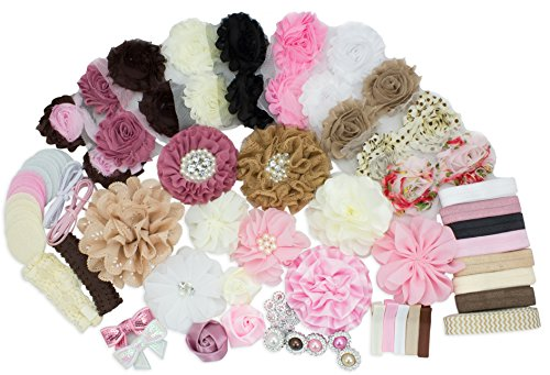 Baby Shower Party jeux fournitures bandeau serre-tête bricolage Maker - Fashion bandeau Kit - trousse - faire 32 bandeaux et 5 Clips - bébé douche bandeau Station Kit - DIY Hair Bow Kit - Collection Vintage