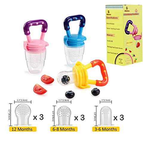 Baby Bottle Feeder (Biubee 3 Pack Baby Food Feeder with 9 Different Size Nipples(3 for S, 3 for M, 3 for L), Silicone Fresh Fruit Feeder Teether Food Mesh for Infant & Toddlers Including All Size)