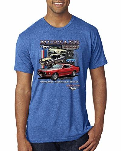 Ford Mustang Classics Untamed American Spirit | Mens Planes/Trains/Automobiles Premium Tri Blend Tee Graphic T-Shirt, Vintage Royal, Small