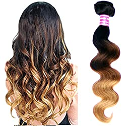 eCowboy 6A Brazilian Human Hair Body Wave Hair Bundle On Sale Best Quality Hair Extensions Weft 100 Human Hair Weave GUARANTEED Dip Dyed Ombre Three-Tone Color #1B/#4/#27-14 Inch
