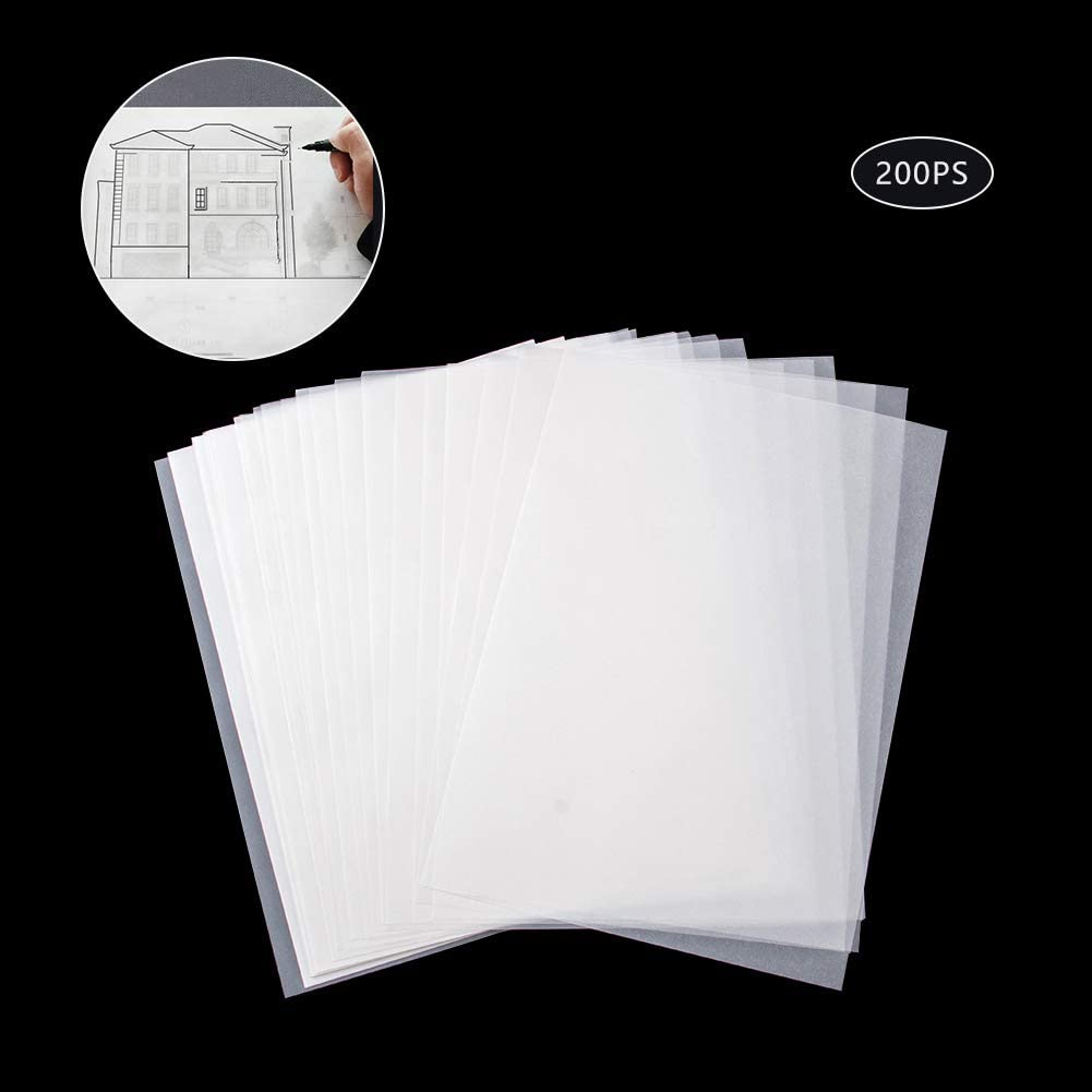 Marker and Ink,Artist/'s Tracing Paper 200Pcs Tracing Paper,Translucent Sketching Paper for Sketching Tracing Comic Drawing Animation,Soft Off-White Translucent Tracing Paper for Pencil