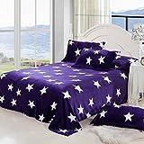Star Soft Printed Plush Flannel Blanket, Throw, Fleece, Flat Twin Full Queen (Queen, purple star)