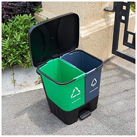 ゴミ袋 ゴミ箱用アクセサリ 屋外の分類の大容量のゴミ箱のふたのゴミの庭の二重バレルのゴミとコマーシャルのホテル キッチンゴミ箱 (Color : Blue, サイズ : 45L)
