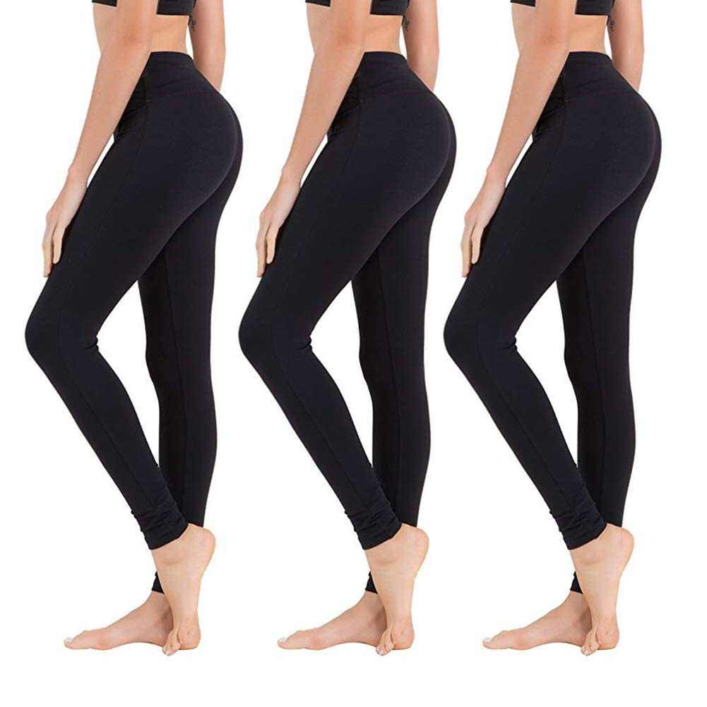 High Waisted Leggings for Women - Soft Athletic Tummy Control Pants for Running Cycling Yoga Workout - Reg & Plus Size by SYRINX