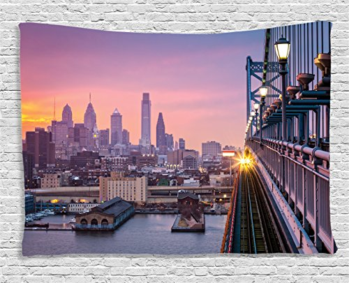 Ambesonne American Tapestry Wall Hanging, Philadelphia Under a Hazy Sunset Train on Bridge with Lights Skyscraper Landscape, Bedroom Living Room Dorm Decor, 80 W X 60 L Inches, Purple Salmon (Soft Train Satin)