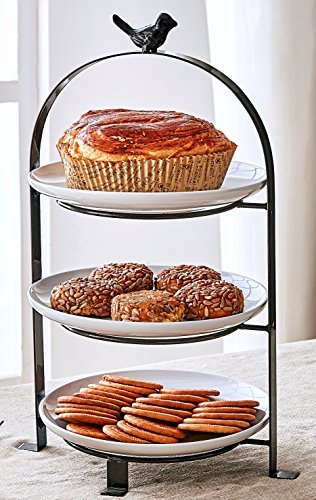 Tiered Serving Stand Includes 1 Neutral Antique Finished Wrought Iron Stand and 3 Premium FDA-Approved Stoneware (Three Tier Serving Stand)
