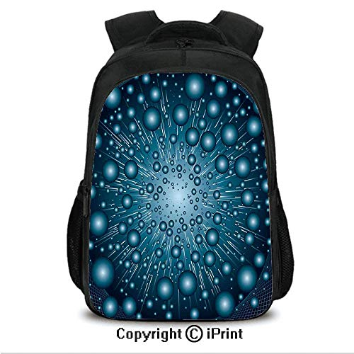"16"" Casual Laptop Backpack Bookbags,Digital Explosion Computer Art Futuristic Dots Circular Spots Galaxy Energy Image CollegeTravel Computer Notebooks Backpack for Teen Men Women Petrol Blue"