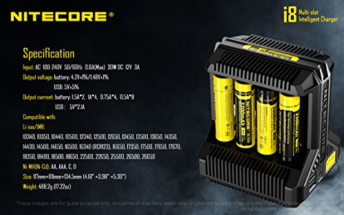 NITECORE i8 Eight Bays Smart Battery Charger for Li-ion/IMR/Ni-MH/Ni-Cd 26650 22650 18650 18490 18350 16340 RCR123 14500 AA AAA AAAA C D USB with EdisonBright BBX3 Battery Carry case by EdisonBright (Image #2)