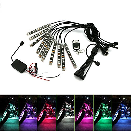 (Underglow Led Light Kit ZXREEK 10 pcs RF Wireless Multi-Color RGB Knight Rider Ground Effect Flexible Strip Lights Kit For Motorcycle ATV UTV Dirt Bike Powersports Golf Cart Harley Yamaha BMW)