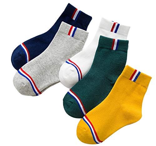 5 Pairs Kids Socks, Cotton, Patriotic Strips Crew, Unisex Youth Children Boys Girls all season Athletics, Patriotic Stripes 6-8 Years