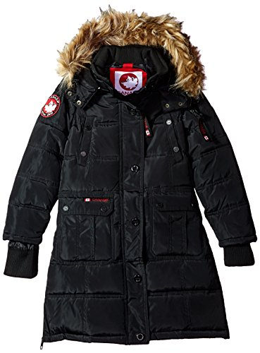 CANADA WEATHER GEAR Girls' Big Outerwear Jacket (More Styles Available), Hooded Stadium-CW055-Black, 7/8