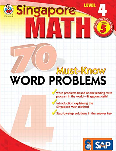 Singapore Math - 70 Must-Know Word Problems Workbook for 5th Grade Math, Paperback, Ages 10-11 with Answer - Math 5 Spring