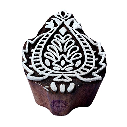 Abstract Floral Design Leaf Block Print Wood Stamp - DIY Henna Fabric Textile Paper Clay Pottery Block Printing Stamp ()