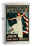 Personalized Message Engraved Customized Gift For Him For Her U.S. Marine Corps. Marine Vintage Poster Zippo Indoor Outdoor Windproof Lighter (Marine Vintage Poster)