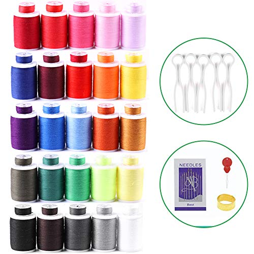 MILIJIA 50Pcs Prewound Bobbins/Sewing Threads Kits, 550 Yards Per Spools, 25 Colors, Polyester Thread for Hand & Machine Sewing
