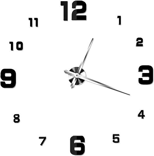 NUOLUX DIY 3D Wanduhr Dekoration Uhr Große Wanduhr 3D Spiegel Oberflächen Große Uhr Zimmerdeko (schwarz)