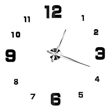 NUOLUX DIY 3D Wanduhr Dekoration Uhr Große Wanduhr 3D Spiegel Oberflächen  Große Uhr Zimmerdeko (schwarz