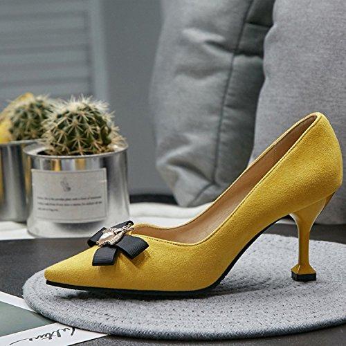 Jaune Petite Talons Chaussure Abeille Simple De Chaussures Pointe Des Hauts Avec 38 Clair Uqvn8S
