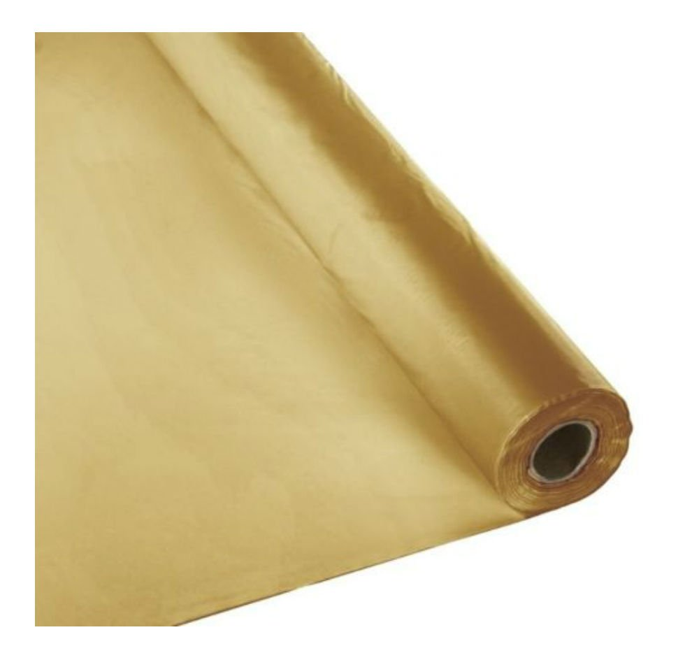 Metallic Gold Plastic Banquet Party Table Cover Roll - 40'' x 300 Feet - Disposable Tablecloths