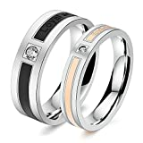Aooaz 2 Pcs Wedding Rings Pair Rings Stainless Steel Band Rings Black Rose Gold Endless Love Cubic Zirconia Rings With Free Engraving Womens 8 & Men 7 Novelty Jewelry Gift