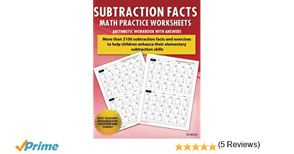 Subtraction Facts Math Practice Worksheet Arithmetic Workbook With ...