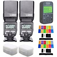 YONGNUO 2PCS YN685-N Wireless HSS TTL Speedlite Flash Build in Receiver + 622N-TX Transmitter + 2 PCS Filter+2 PCS Diffuser For Nikon