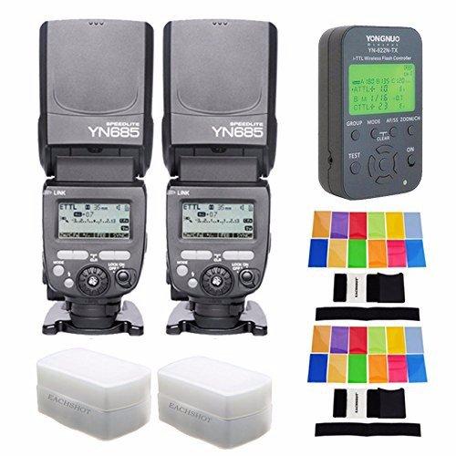 YONGNUO 2PCS YN685-N Wireless HSS TTL Speedlite Flash Build in Receiver + 622N-TX Transmitter + 2 PCS Filter+2