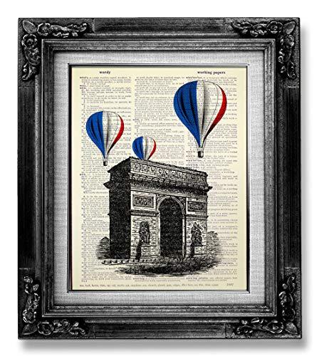 - French Arc De Triomphe Wall Art, France Flag Hot Air Balloon Print, De I'Etoile Paris Place Charles De Gaulle, Vintage Living Room Decor Rustic Chic Country Farmhouse Room Decor, Travel Poster