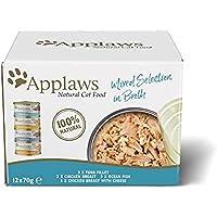 Applaws 100% Natural Wet Cat Food, Multipack de Pescado y Pollo Selección en latas de 70 g (Paquete de 4, 48 latas en…