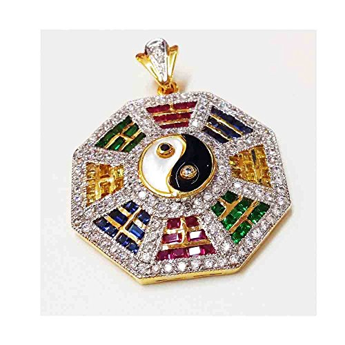 Yin Yang Pendant 18k 22k Thai Baht Yellow Gold Plated Cubic Zirconia Stones Jewelry