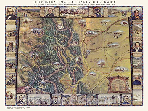 Historic Map | Early Colorado, 1949 | Vintage Wall Art | 57in x 44in