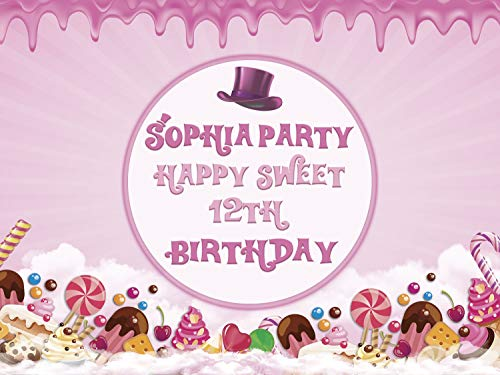 Pink Candy Land Birthday Banner Sweet Chocolate Factory Theme with Hat and Candy Cane Birthday Party Wall Decoration for Any Age Confectionery Birthday Party Concept Size 24x36, 48x24, 48x36