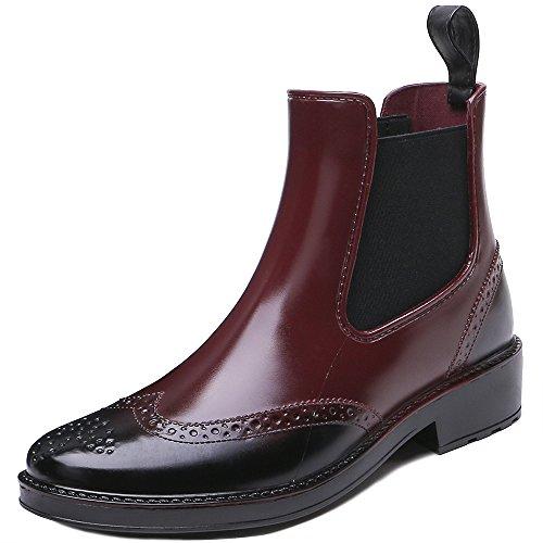 Rain TONGPU Women's Short Boots Fashion Ankle Red Rubber Waterproof Wine WawqYr5w