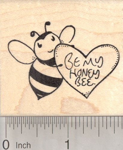 (Valentine's Day Bee Rubber Stamp with Heart, Be my Honey Bee)